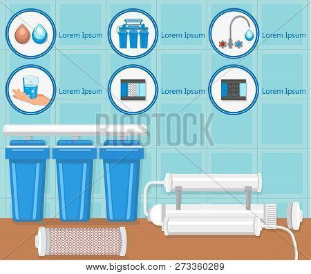 Water Purification Filters and Filtration System. Water Treatment Plant Concept. Destruction Bacteria Set. Aqua Treatment Technology. Pure Aqua Business. Vector Flat Illustration. poster