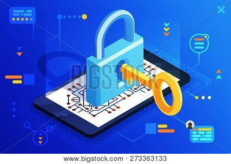 Mobile Web Security Smartphone Access Isometric 3d Key Technology Digital Lock Internet Cyber Protec