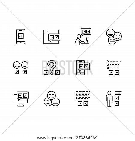 Simple Set Survey Related On Internet, Social Networks And Mobile Applications Vector Line Icons. Co