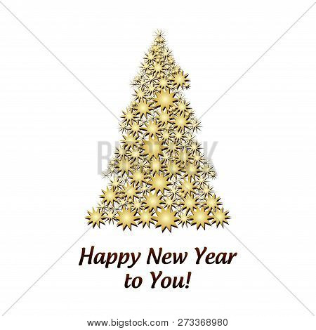 Gold Firtree Made From Golden Stars Isolated On Whine And Wish Of Happy New Year, Vector Illustratio