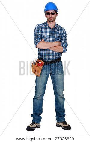 Manual worker wearing sunglasses