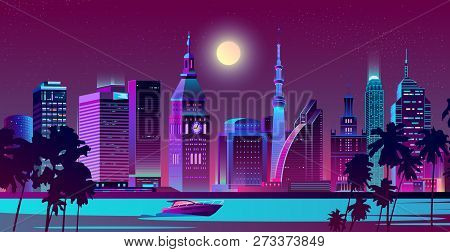 Modern Metropolis, Resort City In Tropical Country Night Landscape Cartoon Vector In Neon Colors. Sk