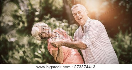 Portrait of senior couple enjoying while dancing in yard