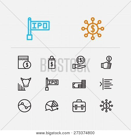 Trading Icons Set. Invest Money And Trading Icons With Bull Market, Bid And Chart. Set Of Pension Fo
