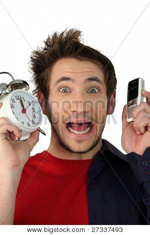 Shocked man late