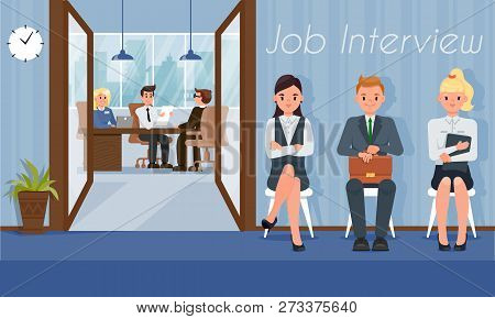 Job Interview And Recruiting. Hr Agency Concept. Staff Recruitment. Human Resource. Search And Selec