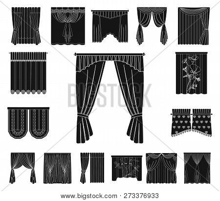 Different Kinds Of Curtains Black Icons In Set Collection For Design. Curtains And Lambrequins Vecto