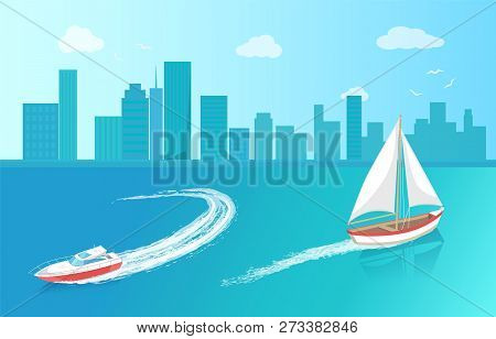 Modern Yacht And Sail Boat, Marine Nautical Personal Ship Icon. Sail Boat With White Canvas Sailing