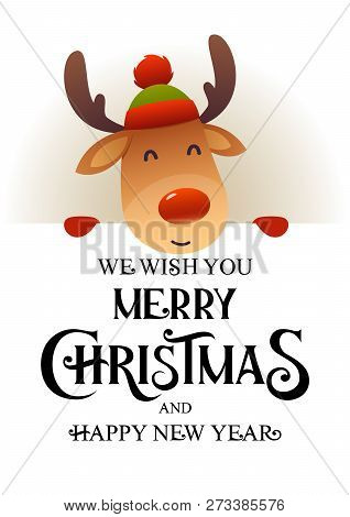 Cute Reindeer Stands Behind Signboard Advertisement Banner With Text Merry Christmas And Happy New Y