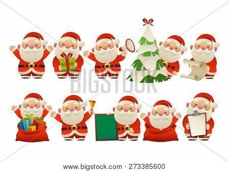 Collection Of Happy Cute Christmas Santa Claus Vector Isolated
