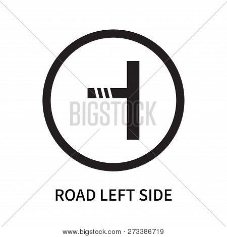 Road Left Side Icon Isolated On White Background. Road Left Side Icon Simple Sign. Road Left Side Ic