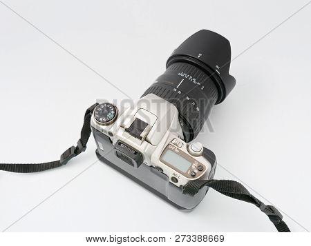 Gomel, Belarus - December 11, 2018: Pentax Mz 6 Camera On White Background.