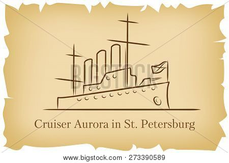 The Cruiser Aurora In St.petersburg, Russia Lineart Illustration For Logo, Icon, Poster, Banner On B