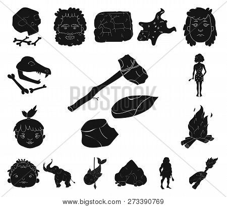 Life In The Stone Age Black Icons In Set Collection For Design. Ancient People Vector Symbol Stock W