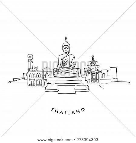 Thailand Buddha And Landmarks Drawing. Hand-drawn Vector Illustration. Famous Travel Destinations Se