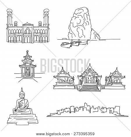 Thailand Famous Outline Landmarks. Hand-drawn Vector Illustration. Famous Travel Destinations Series