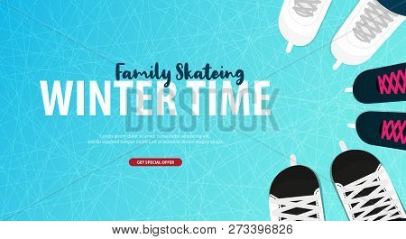 Banner With Ice Skates. Figure Skating. Texture Of Ice Surface. Winter Sports. Vector Illustration B