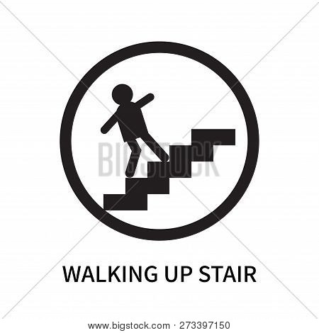 Walking Up Stair Icon Isolated On White Background. Walking Up Stair Icon Simple Sign. Walking Up St