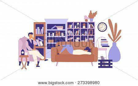 Lazy People Relaxing In Living Room Full Of Exquisite Furniture. Man And Woman Spending Time At Home