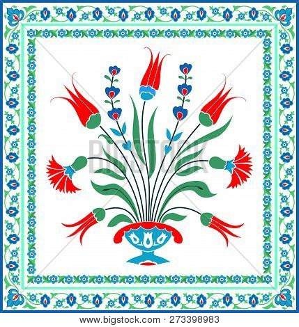 Floral Design, Vector Pattern For Decorative Plate