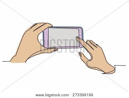 One Continuous Drawn Line Hand Holding Phone Drawn By Hand Picture Silhouette. Line Art. Phone In Ha