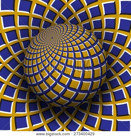 Optical Illusion Vector Illustration. Yellow Blue Squares Patterned Sphere Soaring Above The Same Su