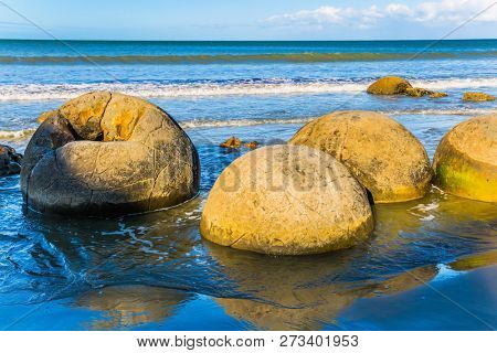 Boulders Moeraki - spherical boulders on the beach Koekokhe. Travel to New Zealand. Ocean evening inflow. The popular tourist attraction. The concept of eco and photo tourism