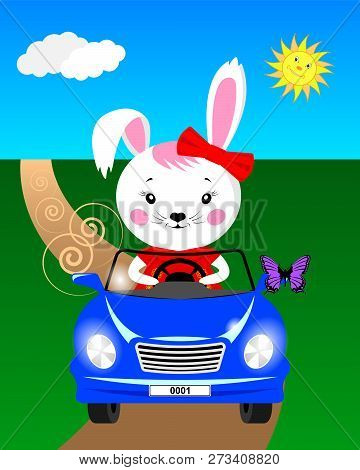 Cartoon Bunny In The Car Rides On The Road And Sees A Butterfly Sat On The Mirror. Vector Illustrati
