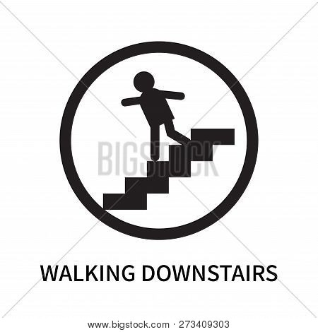Walking Downstairs Icon Isolated On White Background. Walking Downstairs Icon Simple Sign. Walking D