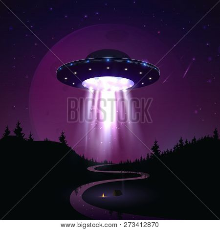 Flying UFO over night landscape vector illustration. Alien invasion of earth. Supernatural spaceship with glow lights hovers over the river poster
