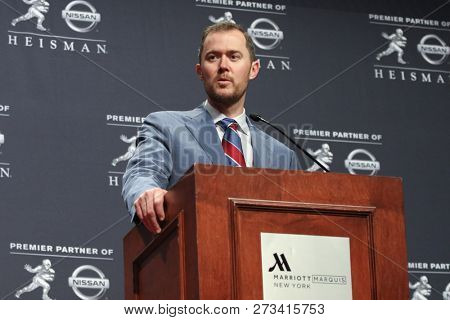 NEW YORK-DEC 8: Oklahoma Sooners head coach Lincoln Riley speaks to the media at the 84th Heisman Trophy ceremony on December 8, 2018 at the Marriott Marquis in New York City.