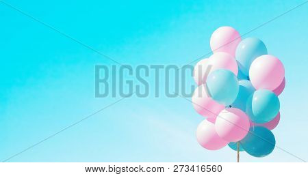 Panoramic Beautiful Background With Pink And Blue Flying Balloons In Sky. Bunch Of Flying Balloons O