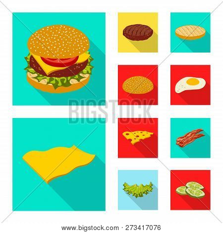 Vector Design Of Burger And Sandwich Logo. Set Of Burger And Slice Stock Symbol For Web.