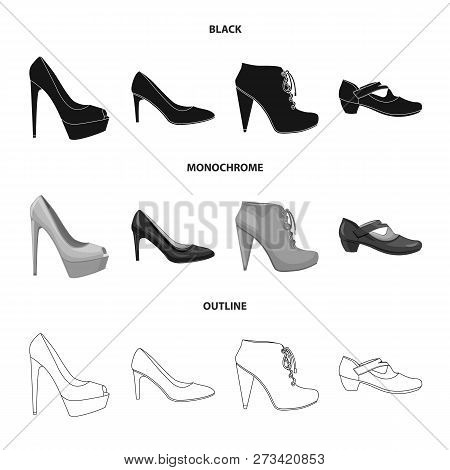 Vector Illustration Of Footwear And Woman Icon. Set Of Footwear And Foot Stock Vector Illustration.
