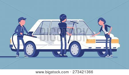 Car hand wash self-service facilities, young people. Volunteers or family clean, polish together vehicle exterior with tools at automobile service station. Vector illustration, faceless characters poster