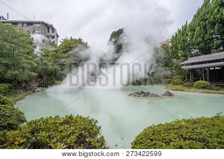 Shiraike Jigoku (white Pond Hell) Pond In Autumn, Which Is One Of The Famous Natural Hot Springs Vie