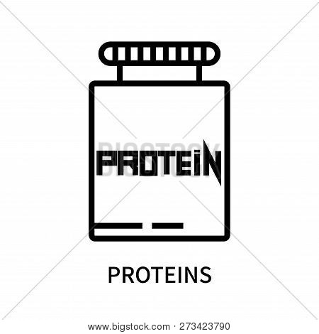 Proteins Icon Isolated On White Background. Proteins Icon Simple Sign. Proteins Icon Trendy And Mode