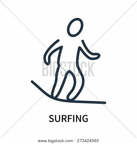 Surfing Icon Isolated On White Background. Surfing Icon Simple Sign. Surfing Icon Trendy And Modern