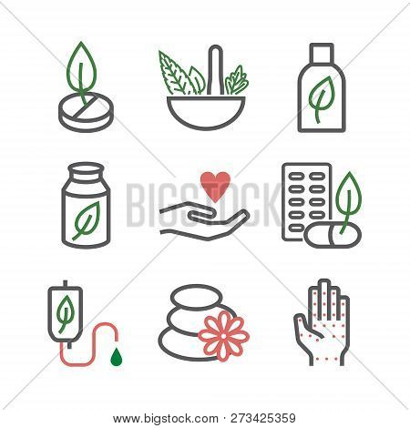Alternative Medicine Symbols. Naturopathy Line Icons. Vector Sign For Web Graphic.