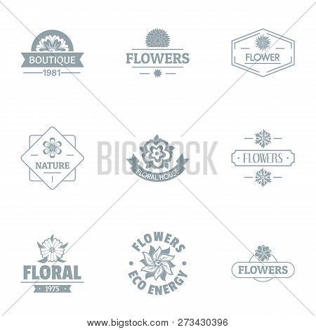 Floral Journey Logo Set. Simple Set Of 9 Floral Journey Logo For Web Isolated On White Background