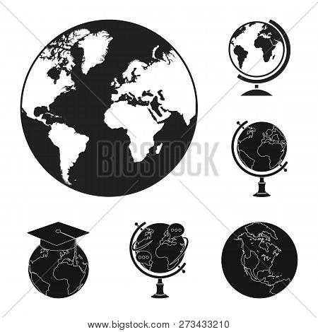 Isolated Object Of Globe And World Logo. Set Of Globe And Earth Vector Icon For Stock.