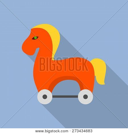Trojan horse icon. Flat illustration of trojan horse icon for web design poster