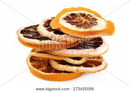 Cut Dried Grapefruit At On White Background