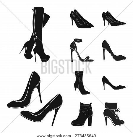 Vector Illustration Of Heel And High Icon. Set Of Heel And Stiletto Stock Symbol For Web.