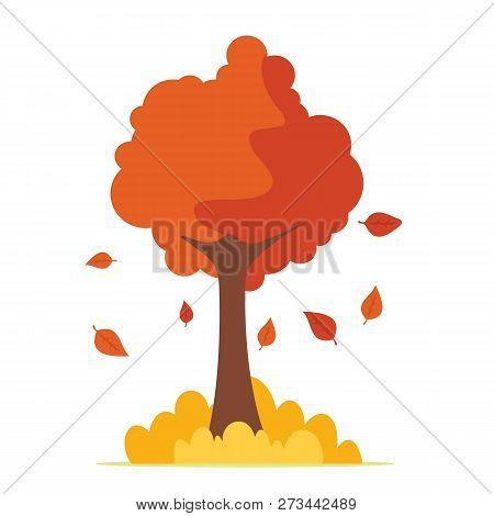 Autumn Tree Isolated On White Background. Colorful Autumn Tree. Cartoon Yellow Orange Fall Tree And
