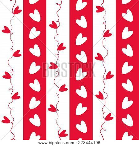 Sweet Red And White Doodle Hearts Seamless Vector Pattern On Geometric Striped Background. Great For