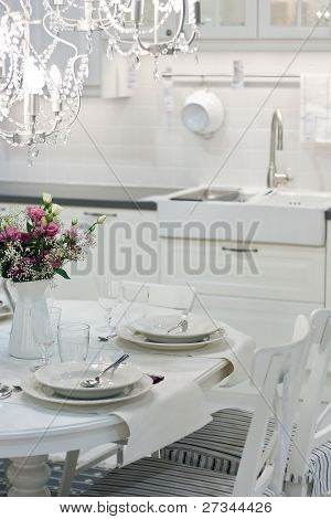 White Dining Table With Flowers