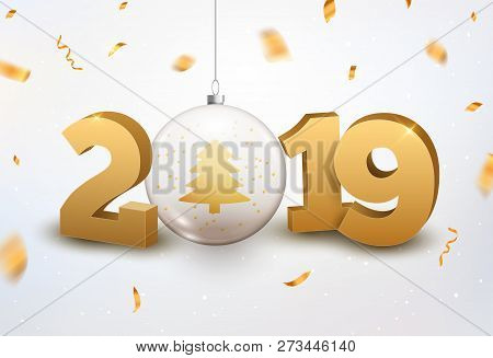 Luxury Christmas Ball 2019 Typography. New Year Background Decoration Holiday Greeting Card 2019.