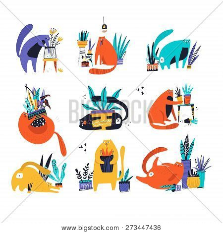 Guilty Cat Flat Hand Drawn Vector Color Characters Set. Cute, Naughty And Playful Cats Eat, Damage H