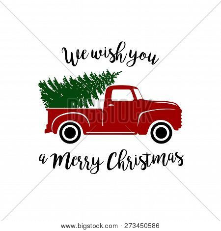 Red Vintage Pickup Truck With Christmas Tree